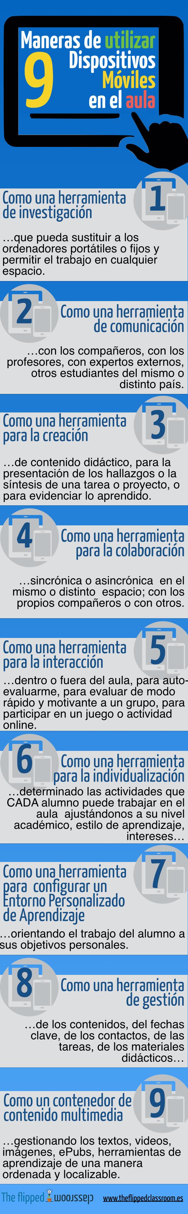 9 formas de usar dispositivos móviles en el aula #infografia #infographic #education - TICs y Formación