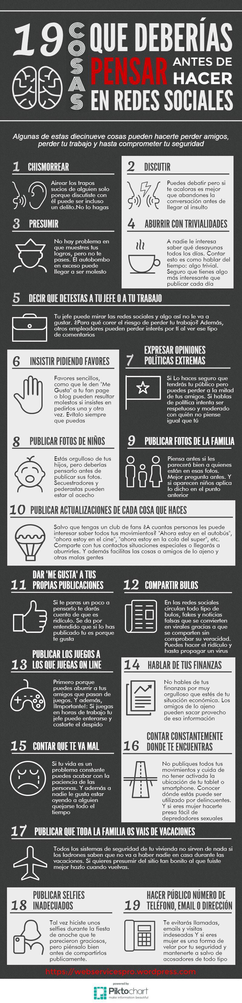 19 Cosas que deberías pensar antes de hacer en redes sociales