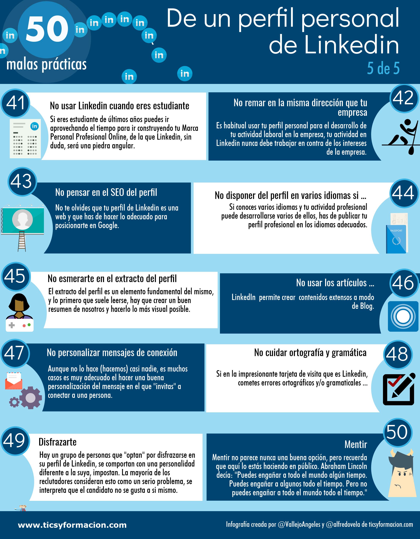 50 malas prácticas de un perfil de LinkedIn (5 de 5)